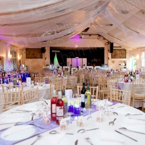 Table Hire - circular for your guests an rectangular for the top table.