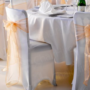 White wedding & our white linen & bows for a magical look.