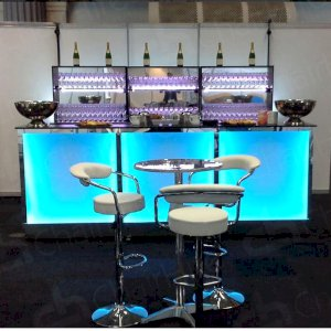 impress guests with our LED bars, poseur tables & bar stools!