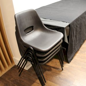 Our polyprop chairs are designed to be stacked.