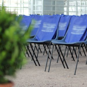 Polyprop chairs in blue for a smart look.