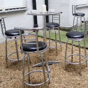 Poseur tables - comfortable to sit or stand around.