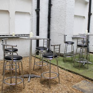 Chrome Poseur Tables HT04 & Black Leather Stools with High Back HC10 pictured.
