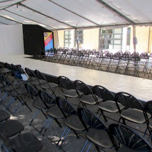 Folding fan back chairs are very popular at outdoor or marquee events.