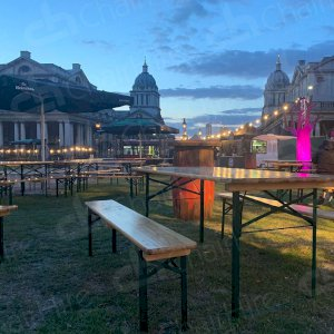 Our Beer Table and Benches at the Greenwich Comedy Festival.