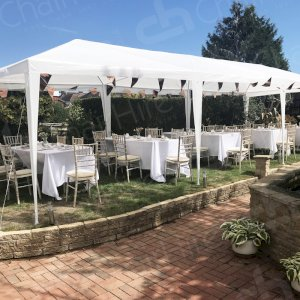 Our client hired Chiavari chairs, tables and white linen to celebrate her Mums 90th birthday.