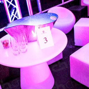 our stunning colour-changing coffee tables with bubble chairs!
