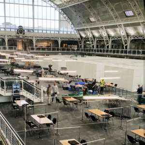 Textile Fair at London's Olympia being set up with conference chairs and trestle tables hired specifically for the event.