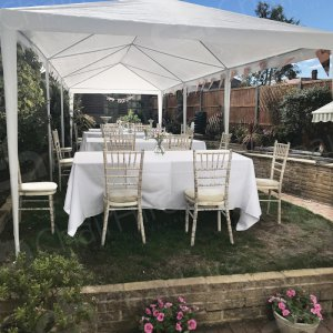 Hire chairs, tables and linen for your outdoor, social distanced celebrations.