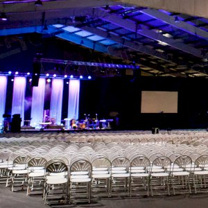 Folding chairs for quick set ups at larger venues.