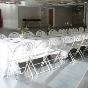 Keeping rooms bright with our folding chairs & linen.