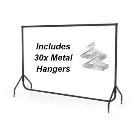 Coat Rail & 30 Metal Hangers