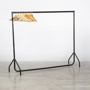 Coat Rail & 30 Wooden Hangers