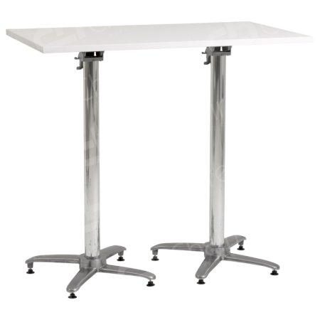 White Double Poseur Table Flip-Top