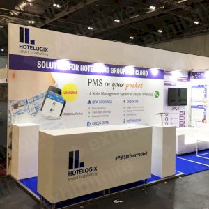 An exhibition stand built with aluminium frames.