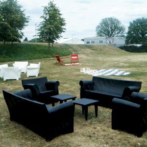 The Bubble Club range is weather resistant and can be hired in either white or black.