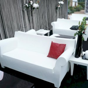 The Bubble Club sofa is weather-resistant and made entirely out of plastic.
