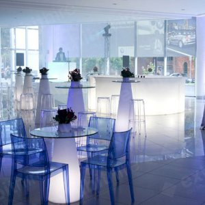 Our Cone High Tables can be illuminated and are ideal as poseur tables.