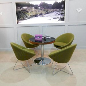 The conic chair is available in a range of colours and is extremely comfortable.