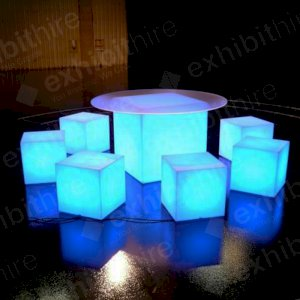 The Cube 40 is a very popular furniture hire item and can be illuminated in a range of colours. Perfect as a seat at any event.
