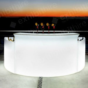 Our Curved Bar can be illuminated and looks stunning during evening events.