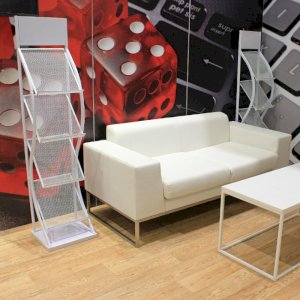 Want a comfortable sofa for your exhibition stand guests? Our Lay sofa is both stylish and comfortable, making it the perfect exhibition sofa. Our leaflet racks are also a great addition to any stand.