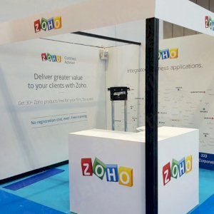White Reception Counter perfect for exhibitions or corporate events.