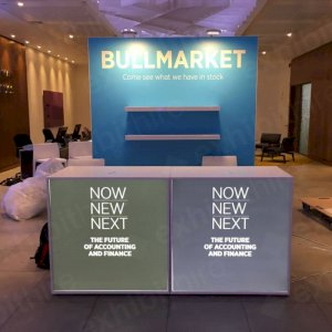 Illuminated Reception Counters can have your graphics added on! Our LED Display Lights light up the walling and attract attention to your exhibition stand.