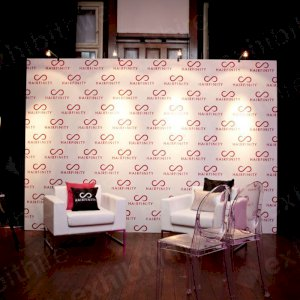 Our Step and Repeat walls are ideal as a backdrop for speakers, interviews, photographs and more. This photo features our Lay chairs with our Victoria Ghost Chairs.