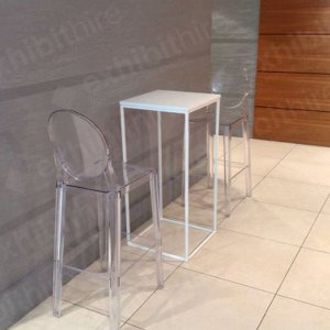 The Victoria Ghost Stool in clear is a modern and classy chair that looks great alongside the Box Frame High Table.
