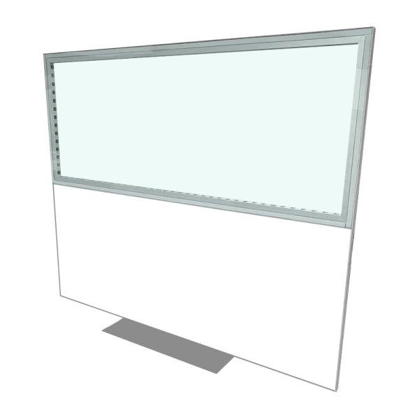 2418w x 1984h Freestanding Aluminium Screen Clear(t) Plain(b)