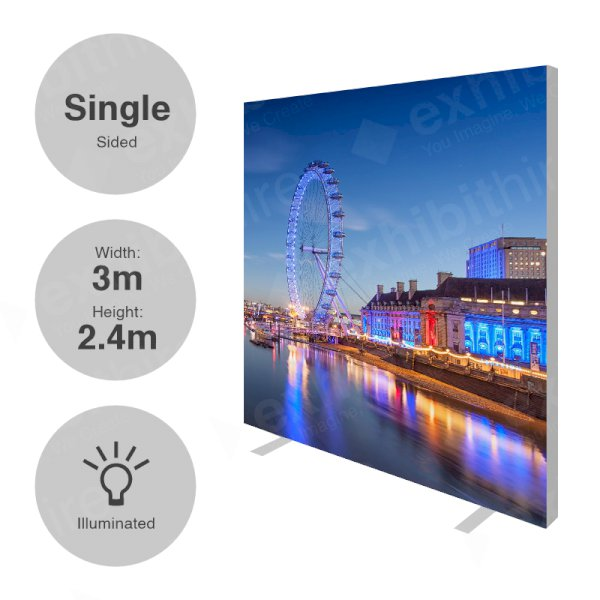 3 x 2.4m (h) Single Sided Illuminated Fabi Frame