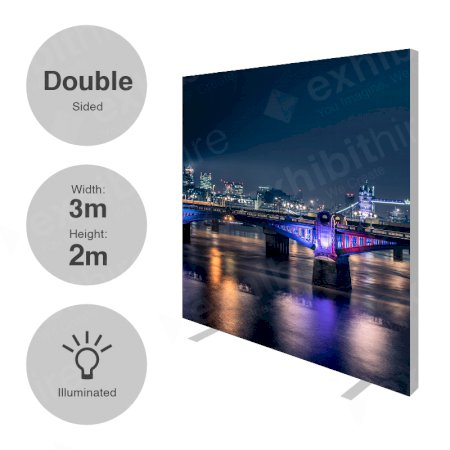 3 x 2m (h) Double Sided Illuminated Fabi Frame
