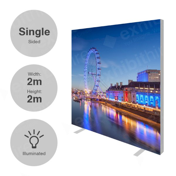 2 x 2m (h) Single Sided Illuminated Fabi Frame