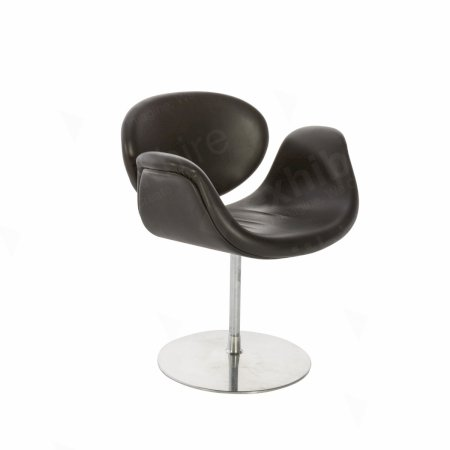 Little Tulip Chair Black Leather