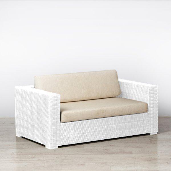 Rattan Sofa White