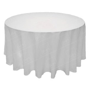 118 Inch Round White Tablecloth