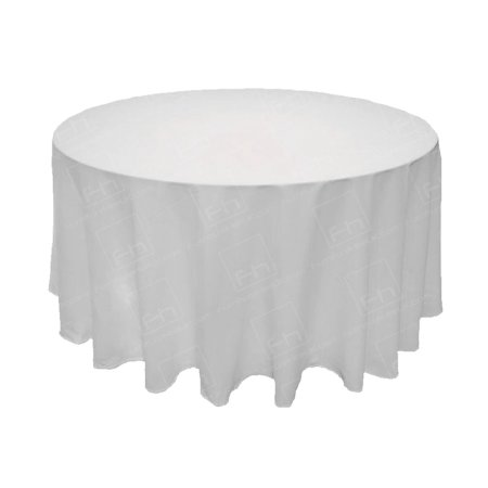 88 Inch Round White Tablecloth - 3/4 Drop
