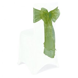 Olive Green Organza Chair Bow