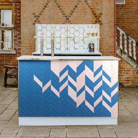 Geometric Bar Pink & Blue - 2m Unit