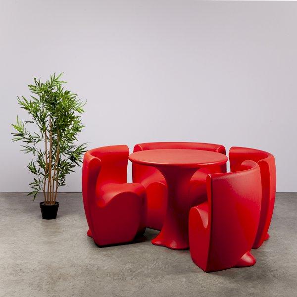 Red Petal Dining Set