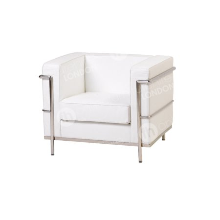 White Chrome Framed Leather Chair