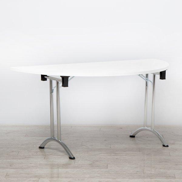 White Modular Folding Table D-End