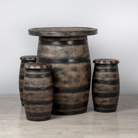 Barrel Bar Table and 3 Stools